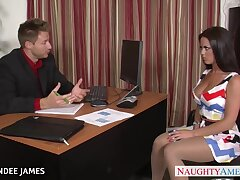 Strict boss fucks luring young secretary in tipped pantyhose Rahyndee James