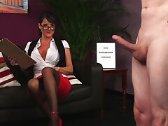 Office MILF loves a tasty dong in CFNM cam action