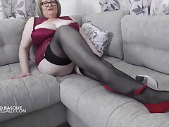 Sally in red basque meekly shows off will not hear of hooves