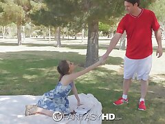 Lovely young woman Rebel Lynn has some steamy sex with a stranger in a park