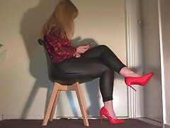 Ignoring you in all directions leather pants and red on one's high horse heels.