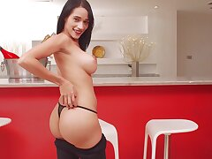 Fake confidential brunette Lisbella Aguilar enjoys playing with will not hear of clit