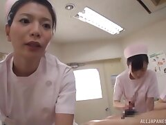 Naughty nurse from Japan enjoys sucking a large dick of her patient