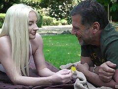 Angelic blonde goddess Angela Fundamental enjoys outdoor sex with an older man