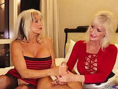 Aroused grannies share the dick be fitting of viva voce pleasures