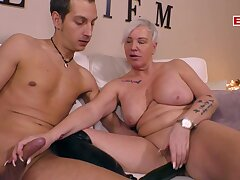 German mature granny with saggy tits