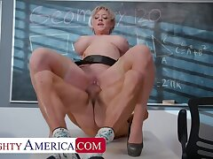 Professor Dee Williams helps are student focus... out of reach of her huge tits and drenched pussy